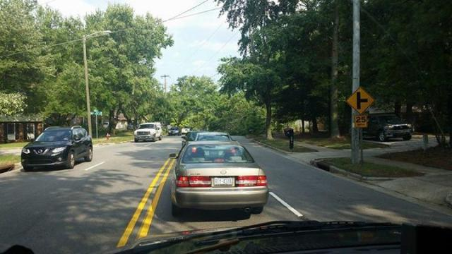 A downed tree blocked traffic Tuesday on Millbrook Road in Raleigh. (Photo courtesy Mike Dunn)