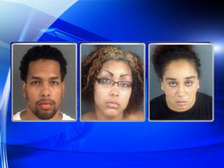 (L to R) Dakim Gregory, Vanessa Robinson and Tiffany Lindsay are accused of holding a woman captive in a Fayetteville hotel room for what investigators said was for human trafficking and sexual servitude.
