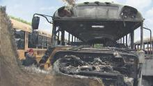 IMAGE: Four Wake County school buses damaged in fire