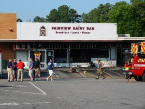 Emergency crews responded to the Fairview Dairy Bar, at 109 Carbonton Road near downtown Sanford, at about 3:40 a.m. after a Sanford police officer saw that the restaurant was on fire.