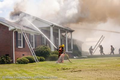 Firefighters quickly extinguished a blaze at a  at 1425 Moores Pond Road. (Photo courtesy Wake Forest News)