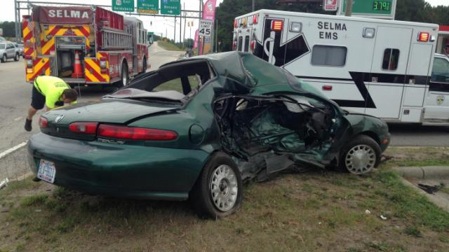 One person was killed and another injured after a wreck on the US-Highway 70 Bypass near Industrial Park Drive in Selma on July 19, 2014. (Viewer photo)
