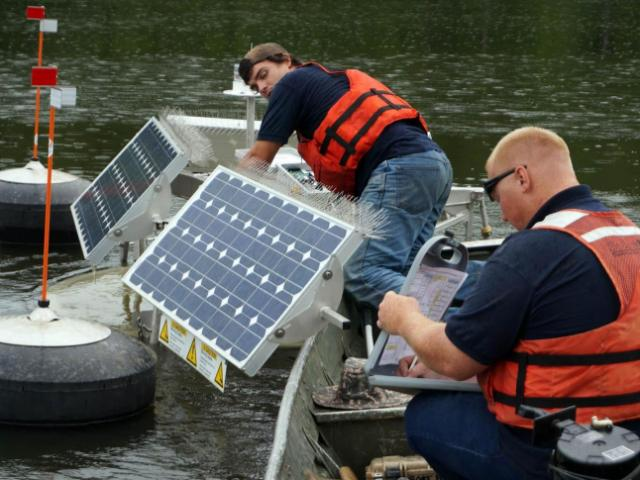 State officials began deploying solar-powered water circulators in Jordan Lake on July 21, 2014, in the latest attempt to battle pollution in the lake.<br/>Photographer: Edward Wilson