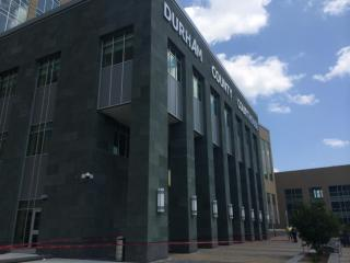 """The letter """"A"""" was listing Tuesday at the Durham County Courthouse."""