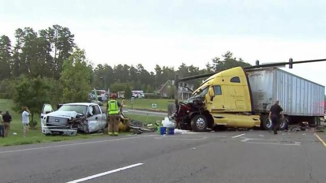 Authorities closed northbound lanes of U.S. Highway 15-501 in northern Chatham County early Tuesday due to a wreck involving a tractor-trailer and a pickup truck.