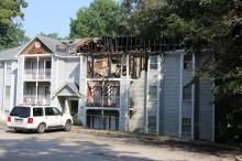 Twenty people were displaced from their homes early Wednesday after fire damaged multiple units of a three-story condominium building in the 1300 block of Park Glen Drive in east Raleigh.