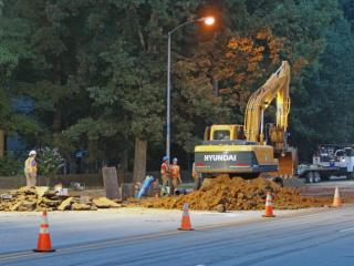 Two sections of Kildaire Farm Road between High Meadow Drive and Tryon Road remained closed Friday morning as crews continued work to repair damaged cause by two water main breaks.