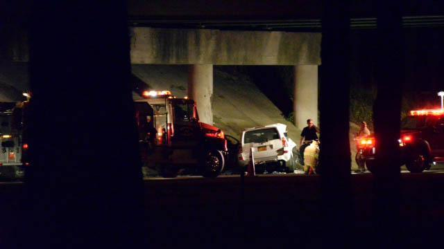 Two people were killed on Aug. 15, 2014, when their car hit a bridge abutment on Interstate 95 in Wilson, authorities said. (Photo submitted by WRAL viewer)