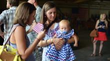 More than 100 soldiers from the 82nd Airborne Division returned home on Monday. (Adam Owens/WRAL)