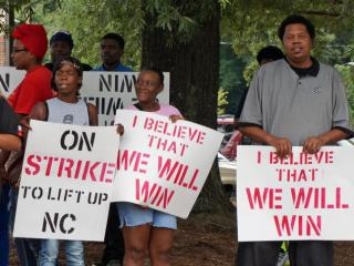 Fast-food workers in parts of the Triangle walked off their jobs Thursday morning as part of the latest national protest to push companies to pay their employees at least $15 an hour.