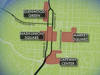 The city of Raleigh wants to revitalize four areas of downtown in an effort to help link them.