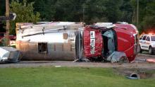 Overturned fire truck