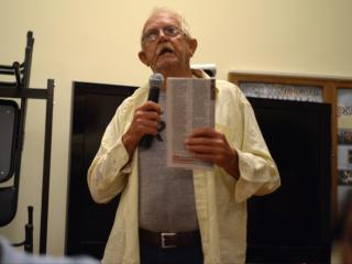 A veteran shares concerns during a town hall meeting at the Fayetteville VA Medical Center on Friday, Sept. 19, 2014.