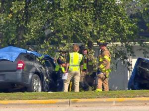 One person was killed and two others were seriously injured in a crash at a Fayetteville intersection Sunday morning, Sept. 21, 2014.