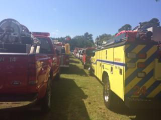 Firefighters from across the country were among the hundreds gathered at Duke Memorial Baptist Church in Spring Hope on Sunday to say their final goodbyes to John Derek Gupton. (Candace Sweat/WRAL)