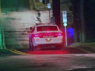 Authorities in Durham were searching early Thursday for a newer-model white Dodge Charger that allegedly struck a North Carolina Central University police officer and a Durham police cruiser Wednesday evening.