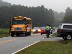 A child was hit by a car early Tuesday on Johnson Pond Road near Oak Park Drive in Apex, state Highway Patrol officials said. (Photo by Jamie Munden)