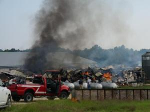 More than 4,000 hogs died after a fire broke out Oct. 1, 2014, at Deefield Farms in Eagle Springs. Investigators believe an electrical fire is to blame.