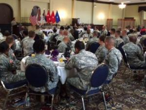 Fort Bragg soldiers attend a domestic violence symposium on Tuesday, Oct. 7, 2014.