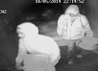 The Halifax County Sheriff's Office on Tuesday released a series of surveillance images showing a pair of men inside the Nash Brick Company in Enfield, site of a series of recent break-ins and thefts.