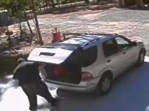 Surveillance video distributed by the Orange County Sheriff's Office shows a man loading items into a tan car outside a home on Pleasant Green Road.