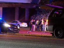 A pedestrian was struck and killed Monday night after running into the path of a N.C. State Highway Patrol trooper's vehicle on the All-American Freeway at Cliffdale Road, police said. (Michael Joyner/WRAL)