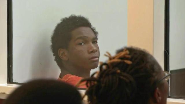 Jarrion Hood appears in a Durham courtroom Oct. 29, 2014, on a murder charge in the shooting death of Jawad Ali Razai.