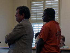 Devand Morris, one of two men charged in connection with a Tuesday shooting at the Nash courthouse, makes his first court appearance on Oct. 30, 2014.