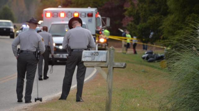 One person was killed Sunday afternoon after a single vehicle motorcycle accident near 477 Creech Johnson Rd. in Zebulon. (John Payne/WRAL Contributor)