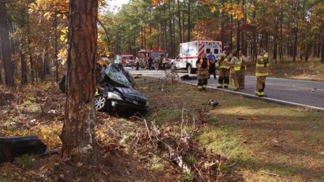 One person was killed Sunday afternoon after a single vehicle wreck on N.C. Highway 690 near the Moore-Cumberland county line. (Frank Staples/WRAL Contributor)