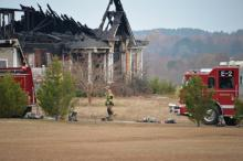 Fire destroyed a home on N.C. Highway 50 in Johnston County Saturday. Photo by John Payne