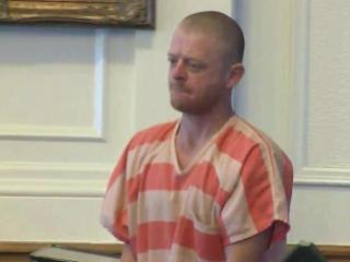 Brandon Lee Slade appears in a Johnston County courtroom Nov. 19, 2014, on charges of assault with a deadly weapon in the shooting of his stepfather, Gilbert Ray Stanley.