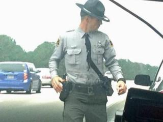 North Carolina state trooper Mark Cerbone makes a traffic stop on Thanksgiving Day.