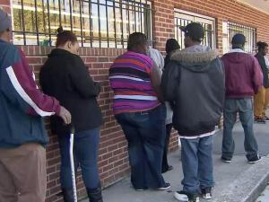 Residents lined up at The Salvation Army on Monday to apply for energy assistance.