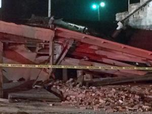 No injuries were reported Wednesday night when an abandoned bus station in the 1300 block of South Blount Street collapsed, Raleigh police said.