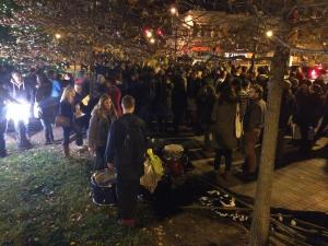 Protesters gathered at Durham's CCB Plaza Friday night for chanting and singing.