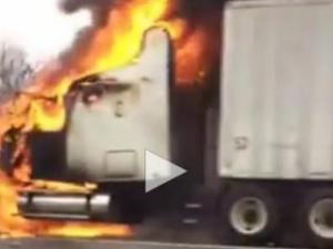 fire on Interstate 85 near High Point, Dec. 6, 2014. Photo and video courtesy of Josh Holt.
