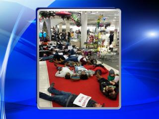 'Die-in' at Nordstrom at Southpont Mall. (Source: Instagram/@bkdaniels2)