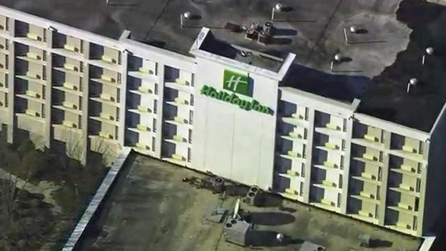 Authorities evacuated a Holiday Inn in Raleigh after a fire broke out Thursday afternoon.