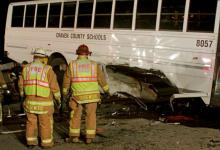 An activity bus carrying band members from New Bern High School was involved in a wreck early Saturday on U.S. Highway 70 in Wayne County, authorities said.  Courtesy of: Goldsboro Daily News