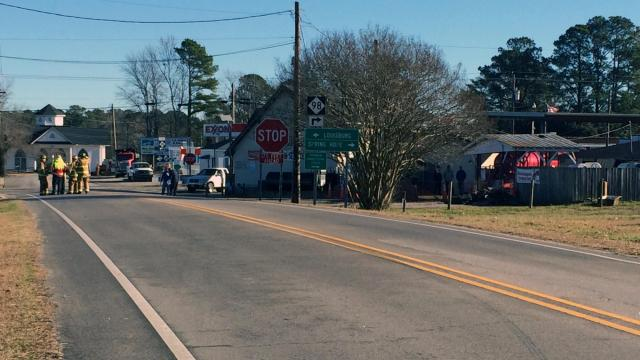 An accident involving a propane tank at an excavation site has forced authorities to evacuate a large area of downtown Bunn, officials from the town's fire department said.
