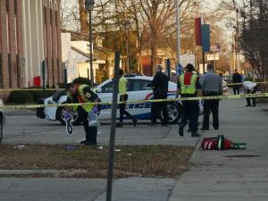 Shots were fired outside the Cumberland County Courthouse Wednesday afternoon, authorities said. (Michael Joyner/WRAL)