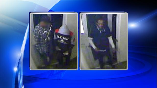 Police investigating an attempted robbery and shooting are looking for two of the men in these surveillance images, captured around 4:20 a.m. at the Extedned Stay America hotel on Appliance Court in Raleigh.