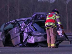 Two people were injured in a three-vehicle crash on Interstate 40 West that temporarily closed three lanes near Exit 285 at Aviation Parkway on Thursday morning, Jan. 1, 2015.