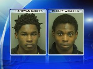 Dantwan Bridges, 17, and Rodney Wilson, 18, faces 6 charges involving break-ins and thefts from three cars.