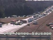 A crash shut down westbound Interstate 40 in Garner for several hours on Tuesday, Feb. 3, 2015. Image taken from North Carolina Department of Transportation traffic camera.