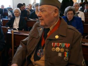 James M. Hamby, of Valdese, was one of eight former U.S. service members honored Feb. 3, 2015, with the  French Legion of Honor medal, France's highest honor for sacrifices they made for fighting on French soil.