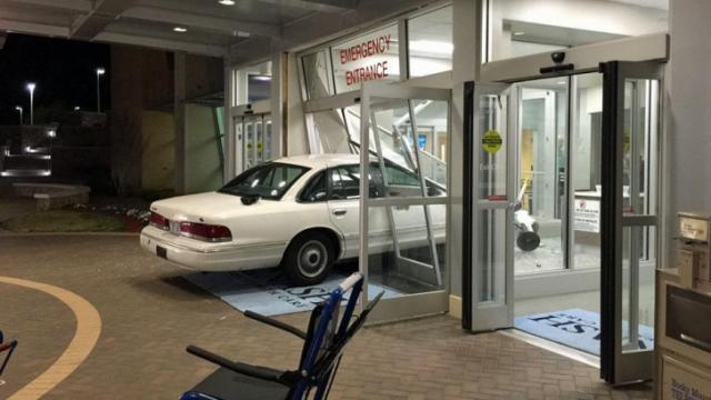 A car crashed into Nash General Hospital's emergency room entrance early Monday, according to hospital officials.