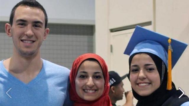 Deah Shaddy Barakat, left, Yusor Mohammad Abu-Salha and Razan Mohammad Abu-Salha