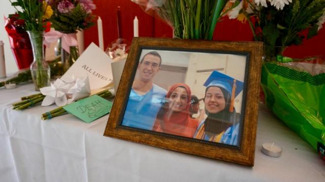 A vigil was held Wednesday, Feb. 11, 2015, at the University of North Carolina at Chapel Hill School of Dentistry, where Deah Barakat was a student. Barakat, his wife, Yusor Mohammad Abu-Salha, and her sister, Razan Mohammad Abu-Salha, were shot dead Tuesday night in a crime that authorities say happened over a parking dispute.